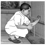 Washing left hand